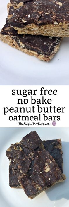 A recipe for a sugar free no bake peanut butter oatmeal bar. This yummy treat is easy to make and is a great snack or healthy dessert idea too. Kids and adults like this and the video too! (easy sugar cookies no butter) Sugar Free Treats, Easy Sugar Cookies, Sugar Free Desserts, Sugar Free Recipes, Great Desserts, Healthy Dessert Recipes, Healthy Treats, No Bake Desserts, Gourmet Recipes