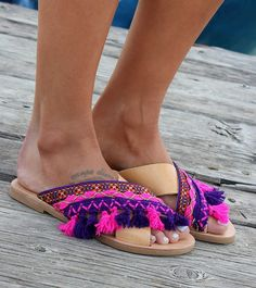 "Handmade leather sandals, X-strap sandals, Greek leather sandals, Slip-on sandals, ""Hydra"""