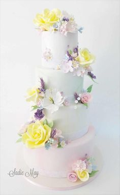 summer pastel wedding cake  by Sharon Sadie May Cakes  - http://cakesdecor.com/cakes/249885-summer-pastel-wedding-cake