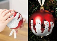 "Hand print ornament, click on the photo or link for more diy ornament ideas. If you like our ideas, become our follower (cool4ideas), we have plenty of them (ideas not followers :D)   Bonnie says: use regular preschool ""washable"" white tempera paint with a little white powder mixed in. then spray paint them to make the paint permanent."