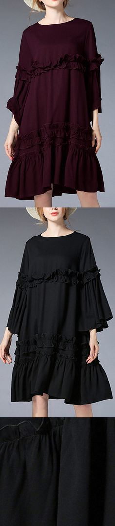 cf7ed8c3b27 fashion black Midi-length linen dress plus size clothing linen maxi dress  Elegant flare sleeve ruffles midi dress
