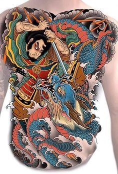 Japanese Koi Fish Tattoo, Japanese Tattoo Designs, Asian Tattoos, Girl Tattoos, Samurai Back Tattoo, Full Back Tattoos, Dragon Tattoo Full Back, Japan Tattoo Design, Traditional Japanese Tattoos