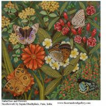 Butterflies and flowers  By Sujata Dhadphale  Buy this from The Art and Craft Gallery