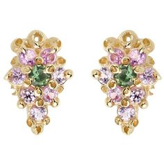 Ruta Reifen Pink Purple and Green Sapphire Flower Stud Earrings ($640) ❤ liked on Polyvore featuring jewelry, earrings, handcrafted jewelry, purple jewelry, stud earrings, purple stud earrings and 14 karat gold earrings
