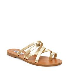 b7dcd87c7c6 Gold Leather Strappy Flat Sandals