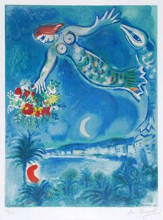 Sirène et poisson (Sirene & Fish) from Nice & the Côte d\'Azur, Marc Chagall, lithograph, 1967
