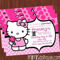 http://mimisdollhouse.com/product/hello-kitty-invitation-light-pink/  Hello Kitty Invitation  The Hello Kitty invitation is personalized to include Name, Age, Date, Time, Location, and RSVP.  The Hello Kitty invitation is available in printable JPED and PDF formats.  A coordinating decorations package is available for this theme: http://mimisdollhouse.com/product/hello-kitty-party-printable-collection-light-pink/  #HelloKitty #HelloKittyInvitation #HelloKittyParty #BirthdayParty