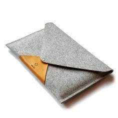 Merino Wool and Leather MacBook Air Sleeve /