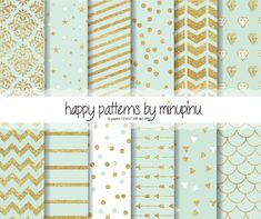 Mint and Gold Glitter Digital Paper, gold glitter patterns on mint background with stars diamonds confetti chevron stripes arrows damask  This digital