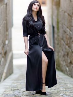 SheIn offers Black Informal Long Sleeve Split Maxi Dress & more to fit your fashionable needs. Designer Party Dresses, Cheap Party Dresses, Unique Dresses, Long Sleeve Evening Gowns, Gowns With Sleeves, Sleeve Dresses, Maxi Dresses, Maxi Styles, Mode Hijab