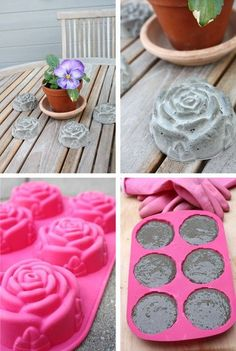 Basteln mit Beton – kreative Ideen zum selber machen tinker with concrete table decoration made of concrete Cement Concrete Rose, Concrete Table, Concrete Cement, Concrete Crafts, Concrete Garden, Concrete Stepping Stones, Decorative Concrete, Painting Concrete, Concrete Blocks