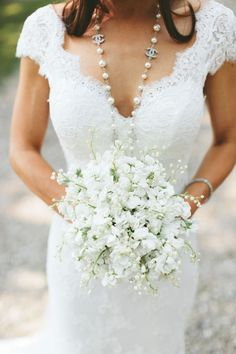 Sweet Bridal Bouquet Comprised Of: White Stock + White Lily Of The Valley ~~