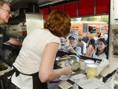 Jean and John Travis serve meals from their Eat Good Food truck during Tuesday's Food Truck Rodeo at Saratoga Eagles Club. (ED BURKE)