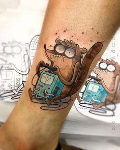 Forarm Tattoos, Dope Tattoos, Mini Tattoos, Body Art Tattoos, Sleeve Tattoos, Tatoos, Cartoon Character Tattoos, Cartoon Tattoos, Rigby Regular Show