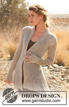 "Knitted DROPS asymmetric jacket in ""Lin"" or ""Muskat"". Size S-XXXL. ~ DROPS Design"