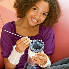 "Tin-Can Knitting - my daughter and I have been doing this with a toilet-tissue tube and 6 popsicle sticks held on with fun duct tape; we had to Google ""spool knitting"" directions and found tons of easy-to-understand YouTube videos"
