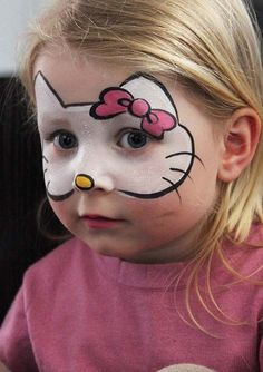 Halloween make-up ideas children - 13 incredibly great and easy .- Halloween Schminkideen Kinder – 13 unheimlich tolle und einfache Ideen Halloween make up ideas children – 13 incredibly great and simple ideas – Hello Kitty – face painting - Maquillage Hello Kitty, Halloween Makeup Clown, Halloween Nails, Halloween Ideas, Pretty Halloween, Kids Halloween Face Paint, Halloween Party, Clown Makeup, Halloween Season