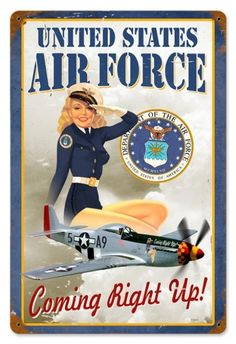Vintage and Retro Wall Decor - JackandFriends.com - Retro US Air Force Girl  - Pin-Up Girl Metal Sign, $39.97 (http://www.jackandfriends.com/retro-us-air-force-girl-pin-up-girl-metal-sign/)
