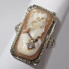 ANTIQUE ART DECO 14K WHITE GOLD FILIGREE CARVED SHELL DIAMOND HABILLE CAMEO RING