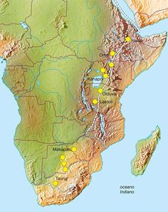 Grande Rift Valley Africa - sites are marked where ancient hominids were discovered