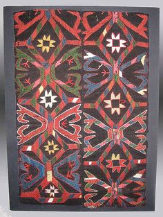 """Kungrad Embroidered Band Fragment, Central Asia,  19th Century, 1'8"""" x 2'7"""" (exclusive of the mount)"""
