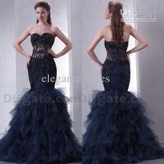 Strapless High Quality Sexy Fishbone Beaded Mermaid Prom Evening Dress ED038