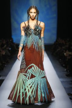 Jean Paul Gaultier, Haute Couture Spring/Summer 2010. -- I find this dress to be so captivating. Love the brown & teal combined.