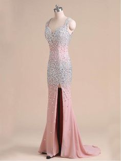 BEADED BACKLESS LONG PROM DRESS 2016, PINK PROM DRESSES WITH HIGH SPLIT