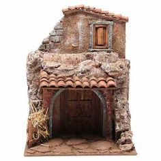 Casa con stalla per il presepe 30x24x18 cm | vendita online su HOLYART Ceramic Houses, Animal Design, Diorama, Cribs, Nativity, Tiny House, Christmas, Xmas, Holiday Decor