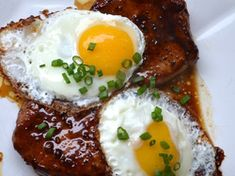 Bourbon Glazed Pork Chops and Fried Eggs | Serious Eats : Recipes.  OMG!  Pork chops are so on next weeks grocery list!