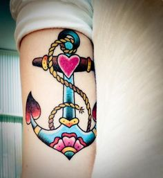 Anchor tattoo - Already have mine in black and gray but this is also very beautiful! More of a classic style