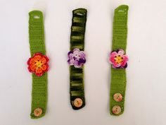 I miei lavori all'uncinetto: Braccialetti uncinetto con fiore