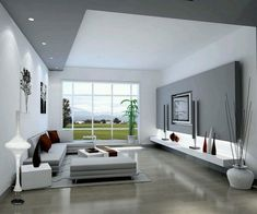 furnishing ideas living room recessed lighting decorating panoramic window The post Modern furnishings – a more or less popular interior design style appeared first on Garden ideas - Gardening Living Room Windows, Living Room Tv, Cozy Living Rooms, Interior Design Living Room, Living Room Designs, Living Area, Plafond Design, Design Salon, Beautiful Living Rooms