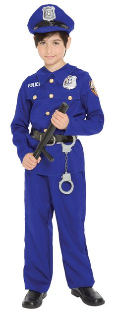 Perfect for a game of cops and robbers! Blue shirt and pants, plastic handcuffs, and matching hat. Fits boys medium sizes 8-10.
