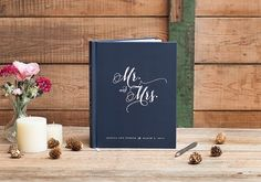 Can't get enough of this elegant Mr. and Mrs. design on classic navy. Available now at http://starboardpress.etsy.com.