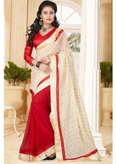 Cream Georgette Saree, - £33.00, #IndianSaree #Fashionable #DesignerSaree #Shopkund