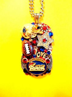 New England Patriots Dog Tag Pendant Number 1128 by BradosBling, $39.99