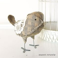 Soft Sculpture Textile Fabric Bird Softie in by asweetreverie, $24.00