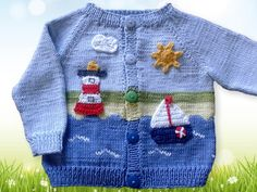 Baby Knitting Patterns Boy This cotton jacket is just the thing for cooler summer days and a … Baby Boy Knitting Patterns, Baby Sweater Knitting Pattern, Knitted Baby Cardigan, Knit Baby Sweaters, Baby Pullover, Baby Hats Knitting, Knitted Baby Blankets, Knitting For Kids, Crochet Patterns
