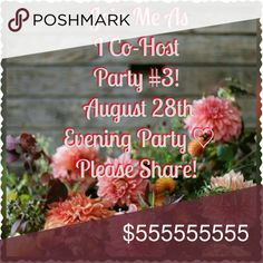 Party #3 Sunday,  August 28th Evening Party! Thrilled to be hosting again! Please help spread the word! I love looking through and sharing your closets and of course....choosing host picks! More information will follow. White House Black Market Other