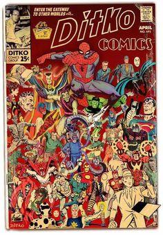 Ditko Comics,and comic book mock-up and tribute to Steve Ditko. Comic Book Artists, Comic Book Characters, Comic Artist, Comic Books Art, Book Creator, Comic Book Superheroes, Steve Ditko, Marvel Entertainment, Classic Comics