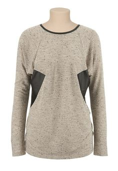 Long sleeve faux leather trim Top (original price, $29) available at #Maurices