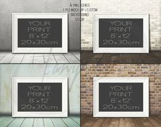 8x12 White Landscape Unmatted Frame on Wooden Floor, 4 Print Display Mockups, PNG PSD PSE, Styled Image, Opening 20x30cm, Custom wall colors