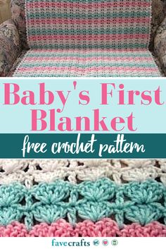 Baby's First Crochet Blanket Pattern - The best crochet baby blanket pattern you will find. Using three skeins to create charming stripes, this free crochet pattern is an essential baby shower DIY gift.