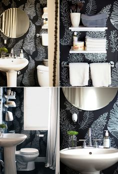 Serious love for this wallpaper - looks amazing in this bathroom.
