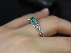 Cassidy 6mm 14kt White Gold Round Emerald Celtic Knot Engagement Ring (Other Metals and Stone Options Available) by RosadosBox on Etsy https://www.etsy.com/listing/162636771/cassidy-6mm-14kt-white-gold-round