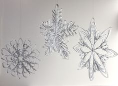 Christmas Ornament Countdown - snowflakes made from toilet paper or wrapping paper tubes cut into 1/4 inch pieces, glued together and painted silver with added glitter.