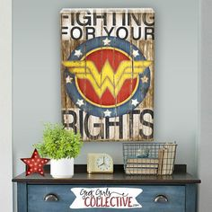 Wonder Woman Art Print -Comic Art, Vintage, Home, Wall Decor -Superhero, Children, Men, Women-Red, White, Blue, Yellow, Black, Brown