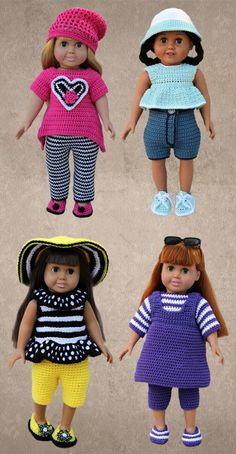 """American Girl 18"""" Doll Crochet Clothing Pattern Downloads fits American Girl, Springfield, Syndee, etc."""