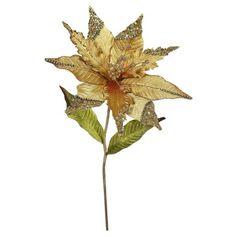 """26"""" Christmas Velvet Poinsettia Gold 3 ct : Target"""
